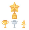 silver cup for the second place gold stars on the vector image vector image