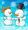 snowmen in love on abstract background vector image vector image
