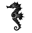 stylized black seahorse vector image vector image