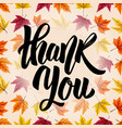 thank you hand drawn lettering on background with vector image