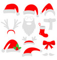 three red santa hats horns mustache beard and vector image vector image