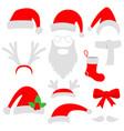 three red santa hats horns mustache beard and vector image