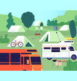 tourist camp sunny forest tree camping outdoor vector image