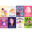 trendy sweets posters banner set vector image vector image