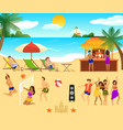 tropical beach elements set vector image vector image
