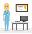 woman doctor with his consulting room vector image