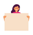 woman portrait with blank banner vector image vector image