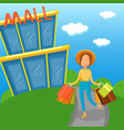 young woman carrying shopping bags walking out vector image