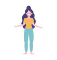 young woman character standing isolated design vector image vector image
