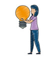 young woman working with bulb vector image