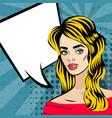 beautiful blonde girl pop art vintage vector image