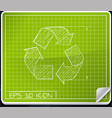 Recycle Symbol Blueprint Icon vector image