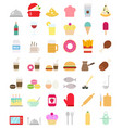 cooking foods icons set in flat style vector image