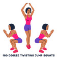 180 degree twisting jump squats sport exersice vector image