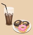 A Delicious Iced Coffee with Glazed Donuts vector image vector image