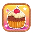 App icon with cute sweet cartoon cupcake vector image vector image