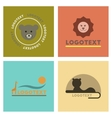 assembly flat icons nature logo bear lion giraffe vector image
