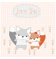 baby and girl fox cute animal in the garden vector image vector image