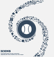 baseball icon in the center Around the many vector image vector image
