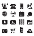 basic phone application icons set vector image vector image