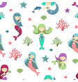 cartoon color characters mermaids girls seamless vector image vector image