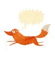 cartoon fox running with speech bubble vector image vector image