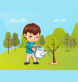 child caring for nature boy with watering can vector image vector image