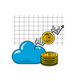 cloud data with arrow and bitcoin currency vector image vector image