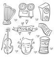 collection stock of music element various doodle vector image vector image