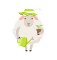 cute white sheep character wearing green hat vector image