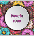 donuts menu background templste seamless pattern vector image vector image