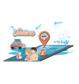family vacations in pool icon vector image vector image