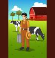 farmer milking cow vector image