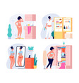 fat woman weight problems size plus girl and vector image