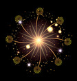 fireworks bursting in glowing yellow and starry vector image vector image
