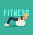 fitness woman exercising on fitness ball vector image