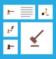 flat icon court set of crime tribunal defense vector image vector image