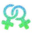 halftone blue-green lesbi symbol icon vector image vector image