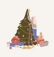 happy couple decorating christmas tree flat vector image vector image