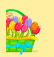 happy easter festive concept with tulips vector image vector image