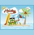 holiday in beach with funny frog cartoon vector image