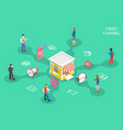 isometric flat concept cross channel vector image vector image