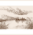 lake landscape sketch water vegetation and cloudy vector image vector image