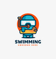 logo swimming simple mascot style vector image