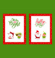 merry and bright cards with cartoon characters vector image vector image