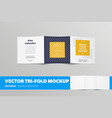 mockup open square tri-fold with presentation vector image