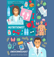 nutritionist and endocrinologist medical poster vector image vector image