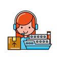 operator girl online shopping boat cardboard box vector image vector image