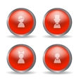 Red glossy modern spheres with family icons vector image vector image