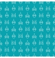 Robot seamless pattern on blue background vector image